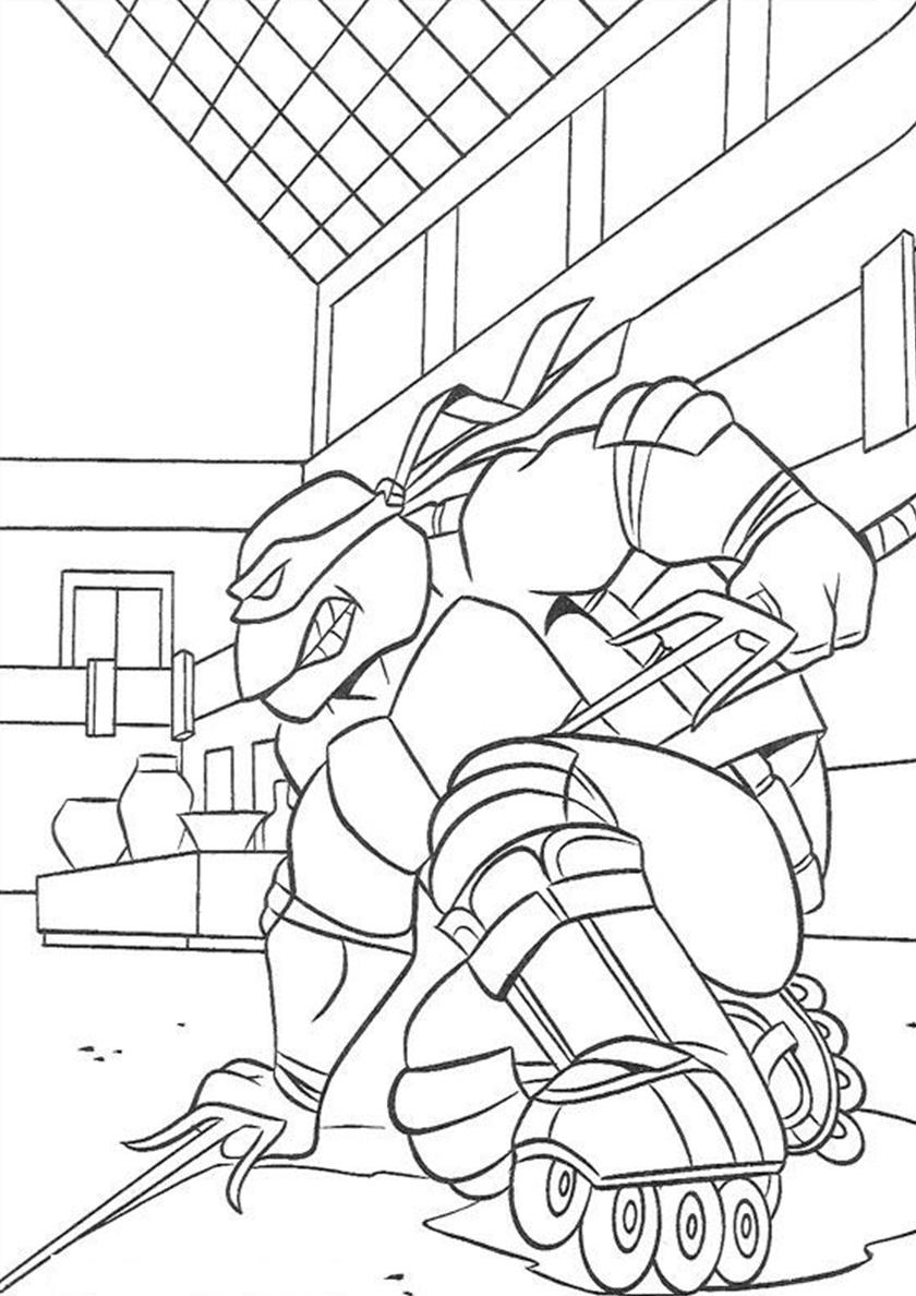 Раскраска Рафаэль на роликовых коньках распечатать ...
