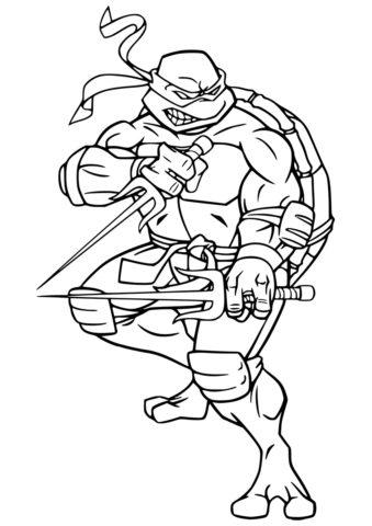 Рафаэль в боевой позе - раскраски по мультфильму Черепашки-ниндзя распечатать на А4
