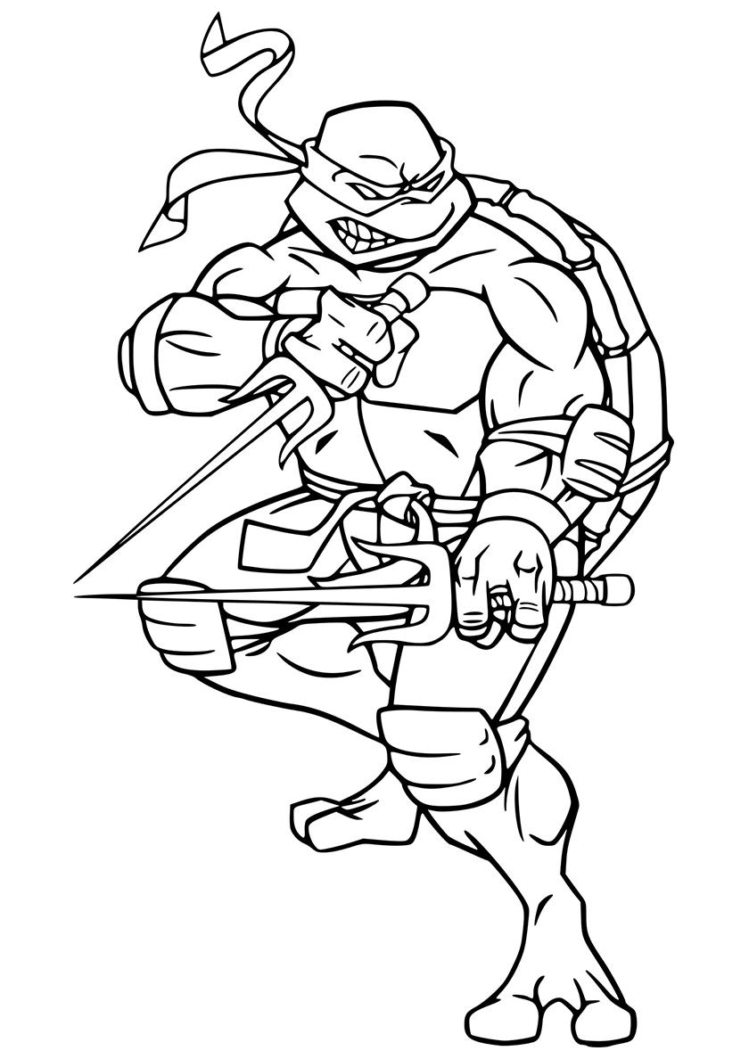 Картинка для раскраски черепашки ниндзя