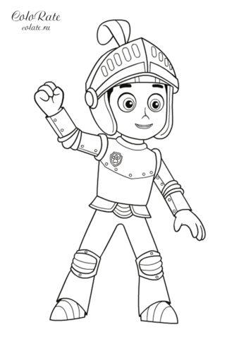Райдер в костюме рыцаря - распечатать на листах формата А4 разукрашку для детей