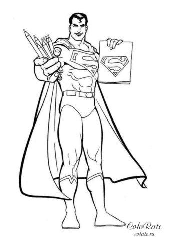 Раскраска для детей - Супермен с карандашами