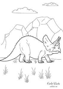 Реалистичный трицератопс - раскраска с динозавром распечатать на А4
