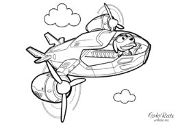 РобоДог в самолете спасателей - скачать и распечатать раскраску
