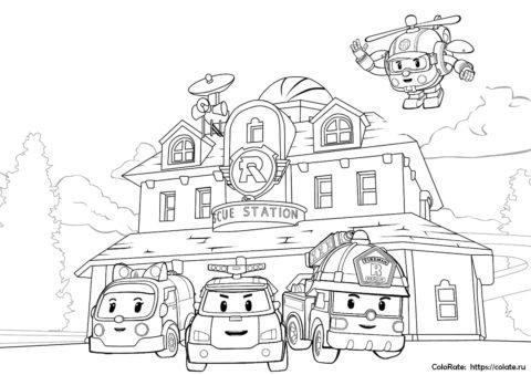 Раскраска Робокар Поли и его друзья скачать и распечатать на А4