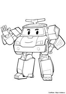 Робокар Поли приветствует зрителей - бесплатная разукрашка