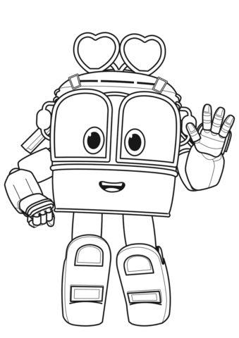 Робот-поезд Сэлли - детская разукрашка скачать