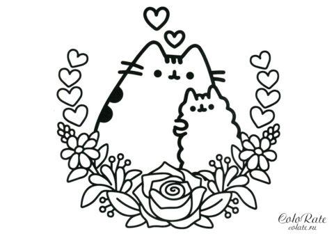 Раскраска Pusheen Cat с мамой распечатать на формате А4