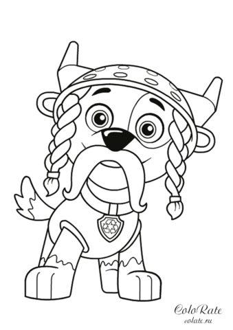 Бесплатная раскраска Рокки в костюме викинга - Щенячий патруль