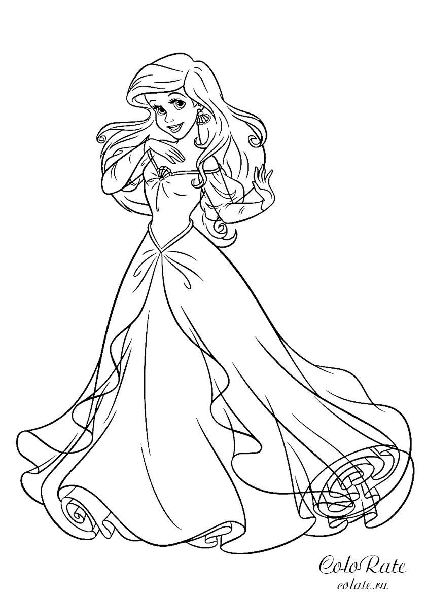 Раскраска Русалочка в бальном платье распечатать ...