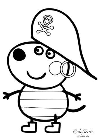 """Разукрашка """"Щенок Дэнни в костюме пирата"""" распечатать на листах формата А4"""
