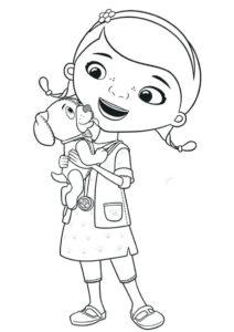 Доктор Плюшева - Щенок и Дотти - бесплатная раскраска