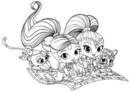 Раскраска Шиммер и Шайн на ковре-самолете для девочек