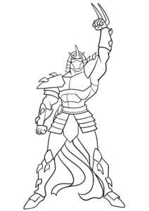 Шреддер из мультика Черепашки-ниндзя - раскраска скачать и распечатать