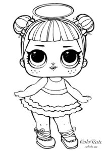 Сахарок - раскраска с куклой ЛОЛ Сюрприз распечатать бесплатно