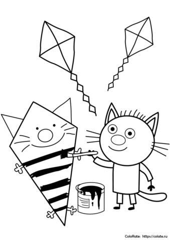 Раскраска Сажика из мультфильма Три кота скачать и распечатать на А4