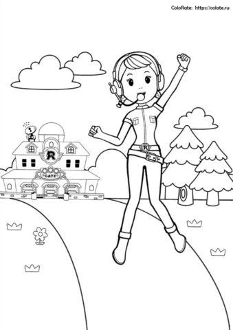 Счастливая Джин - раскраска из мультика Робокар Поли для детей