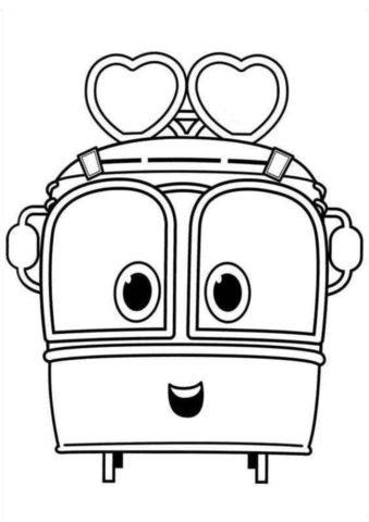 Сэлли - бесплатная разукрашка из мультика Роботы-поезда скачать
