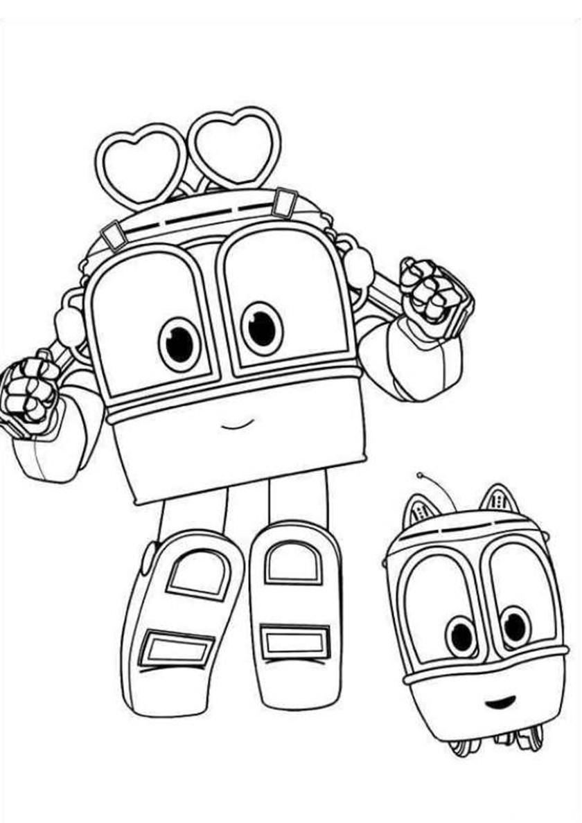 раскраска сэлли и бекки распечатать роботы поезда