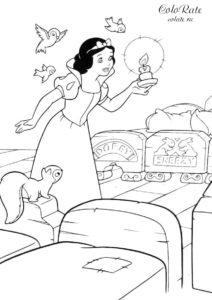 Кроватки гномов - раскраски по мультфильму Белоснежка