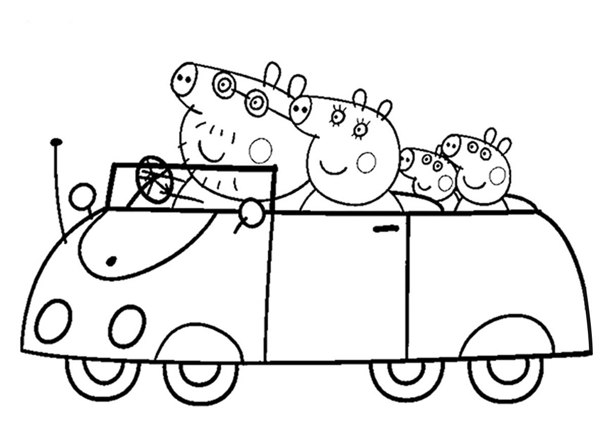 раскраска семейная поездка распечатать свинка пеппа