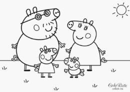 Семья Пеппы на прогулке - бесплатная раскраска скачать и распечатать