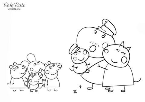 Свинка Пеппа - раскраска по мультфильму распечатать на А4 и скачать