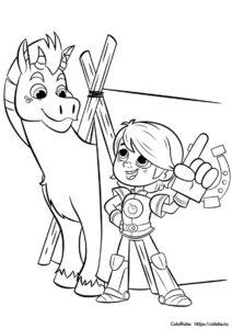 Раскраска Сэр Гаррет и Клод из мультика Нелла - принцесса-рыцарь для детей