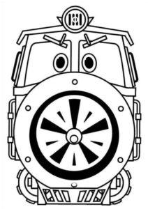 Бесплатная разукрашка - Серьезный поезд Виктор - по мультфильму Роботы-поезда скачать