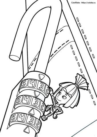 Бесплатная раскраска с Симкой из мультика Фиксики для детей