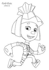 Симка - раскраска из мультика Фиксики для детей