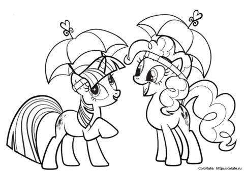 Искорка и Пинки Пай с зонтиками - раскраска для детей