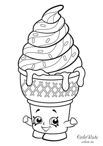 Раскраска Сладкое мороженное Шопкинс распечатать раскраску
