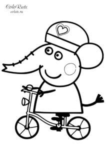 Слоненок Эмили на велосипеде - бесплатная раскраска из мультика Свинка Пеппа