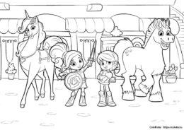 """Раскраска героев мультика """"Нелла - Принцесса-Рыцарь"""" для детей"""