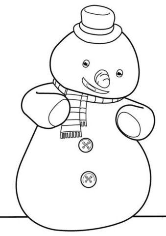 Раскраска Снеговичок Чилли из мультфильма Доктор Плюшева для детей
