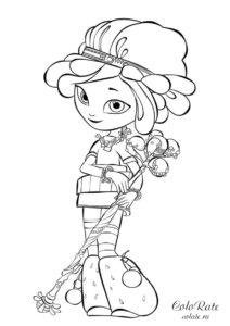 Бесплатная раскраска Сказочный патруль - Снежка с волшебным посохом