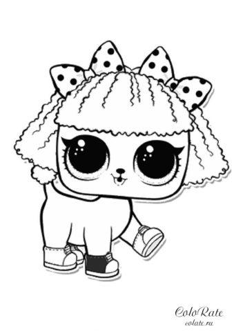 Собачка Пупста - раскраска куколки LOL распечатать бесплатно