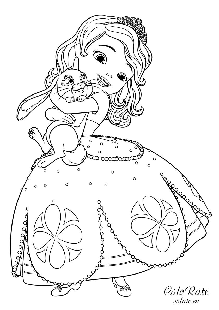 раскраска софия и заяц клевер распечатать софия прекрасная