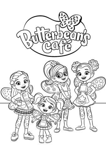 Раскраска Сотрудницы кафе Баттербин для девочек - распечатать на А4