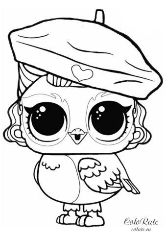 ЛОЛ Петс разукрашка с совой Крылатый ангел