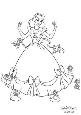 Создание платья в мультфильме Золушка - скачать и распечатать раскраску