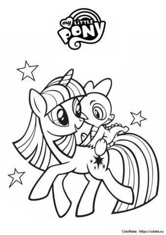 Бесплатная раскраска - Спайк и Искорка - Мой маленький пони: Дружба - это чудо