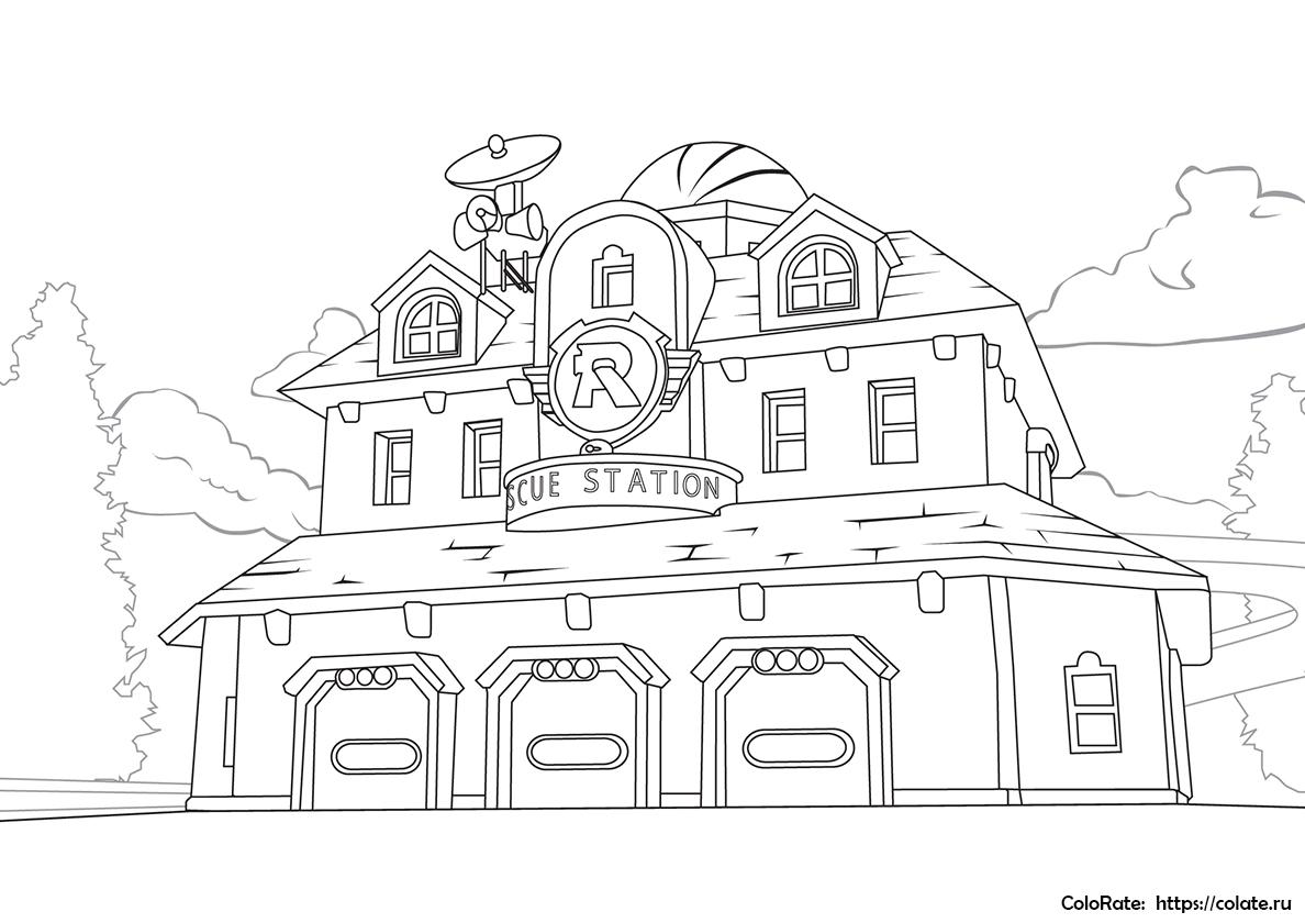 Раскраска Спасательная станция распечатать   Робокар Поли