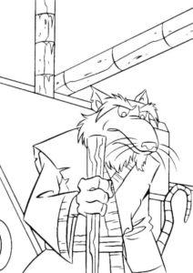 Разукрашка - Сплинтер с боевым шестом - Черепашки-ниндзя (TMNT)