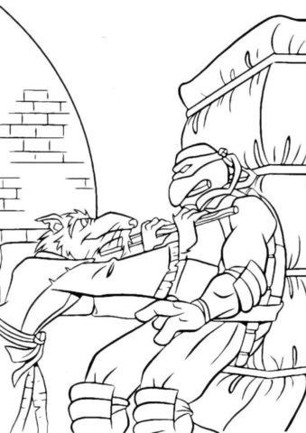 """Сплинтер тренирует подопечных - детская разукрашка из категории """"Черепашки-ниндзя"""""""