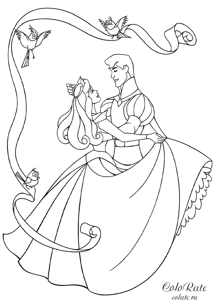Раскраска Спящая красавица и принц распечатать | Аврора