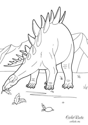 Раскраска со стегозавром - огромным динозавром