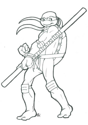 Стильный Донателло - раскраска из мультфильма Черепашки-ниндзя
