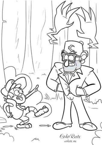 Раскраска Дядя Стэн и Диппер в лесу