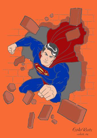 Пример раскрашивания Супермена